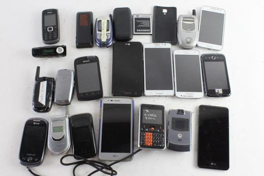 Samsung, LG, & More Cell Phone Lot, 10+ Pieces, Sold For Parts
