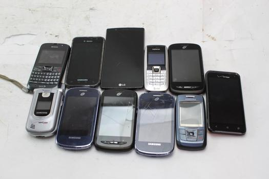 Samsung, Lg, Zte+ More Cell Phone Lot,  11 Pieces, Sold For Parts