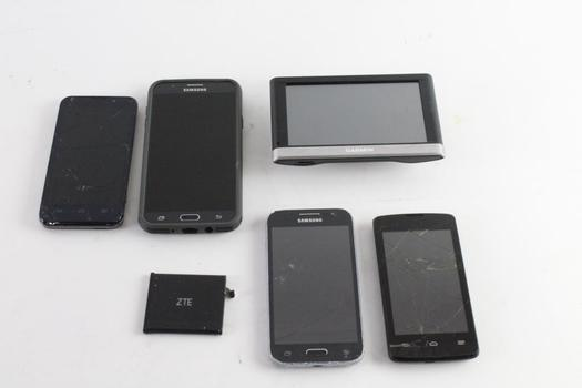 Samsung, ZTE Cell Phone Lot, 6 Pieces, Sold For Parts