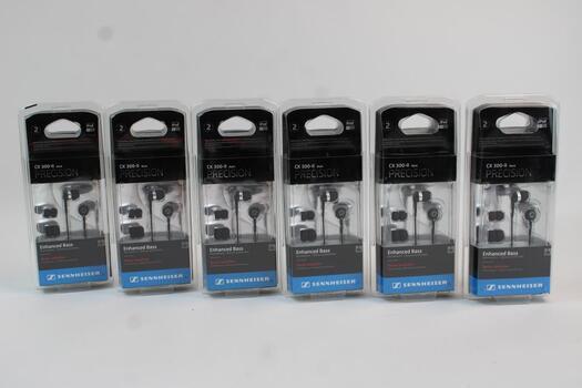 Sennheiser CX 300-II Precision Stereo Earbud Headphones, Lot Of 6