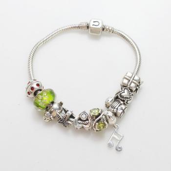 Silver 40.7g Charm Bracelet