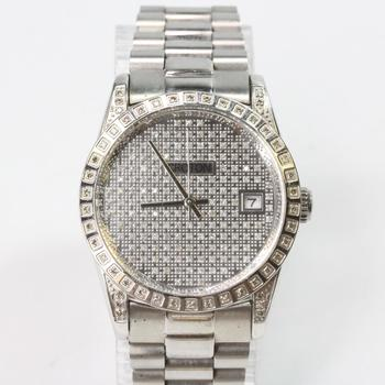 Silver Colored Croton Watch With Diamonds