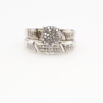 Silver Diamond Bridal Ring Set