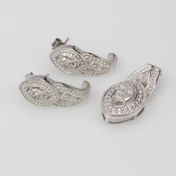 Silver Diamond Earrings And Pendant 6.2g, 3 Pieces