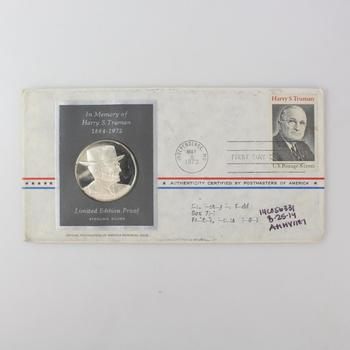 Silver Harry S Truman Memorial Proof And Stamp
