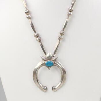 Silver Navajo Pearl Naja Necklace With Turquoise Accent