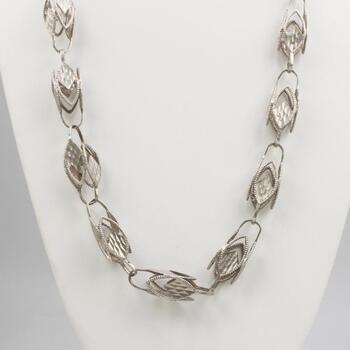 Silver Vintage Open Link Necklace