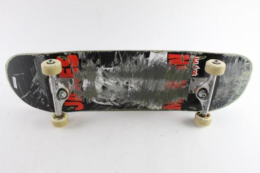 Skateboard With Red And Black Bottom