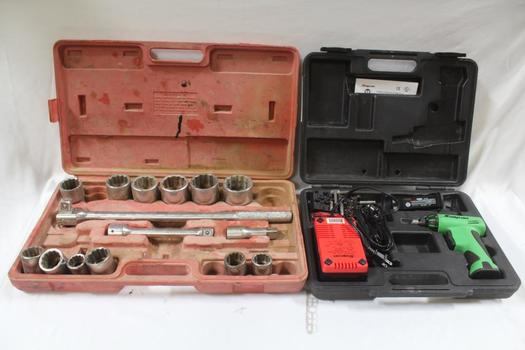 Snap On Cordless Screwdriver, Socket Wrench Set Unknown Brand 2 Pieces