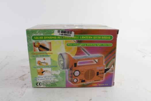 Solar Dynamo Rechargeable Lantern with Radio, 2 Pieces