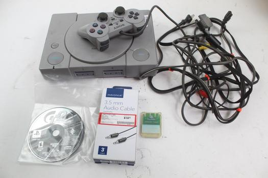 Sony Playstation, Sony Gran Turismo 2 Game, Insignia 3.5mm Audio Cable, & More; 7 Pieces