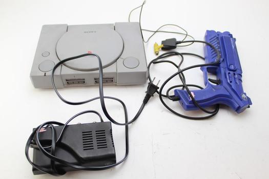 Sony Playstation, Time Crisis Game, GE RF Modulator, Nyko Gaming Gun: 4 Items
