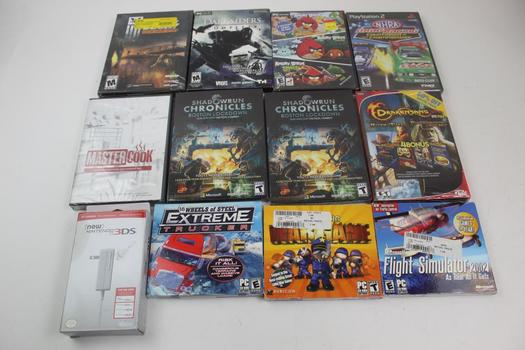 Sony PS2 Dragracing Game, Nintendo 3ds Charger, & Assorted PC Games; 5+ Pieces