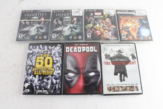 Sony PS3 Games, 4 Pieces And DVD Movies, 3 Pieces