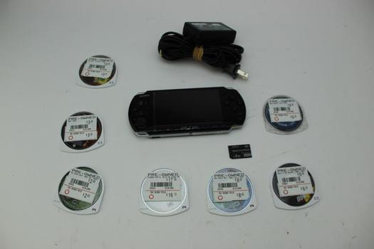 Sony Psp W/assorted Games & Movies; 10 Pieces