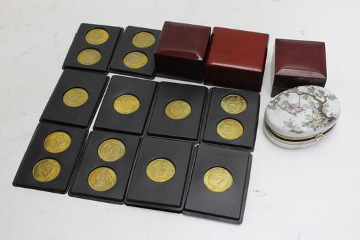 Sports Baseball Coins, Ring Boxes: 10+ Items