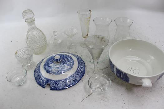 Staffordshire China Soup Tureen And Glassware, 14 Pieces