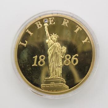 Statue Of Liberty 1886 Crystal Inlay Commemorative Proof Medal