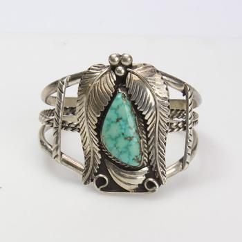 Sterling Silver 48.10g Cuff With Turquoise Stone