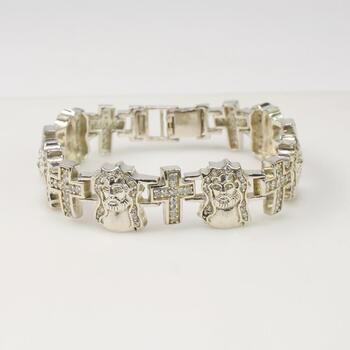 Sterling Silver Clear Stone Religious Bracelet 62.9g