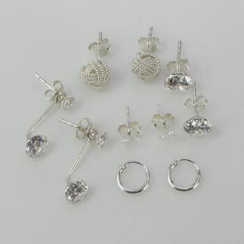 Sterling Silver Earrings, 10 Pieces 4.8g