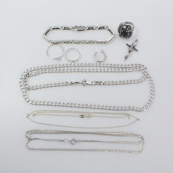 Sterling Silver Jewelry, 9 Pieces 45.9g