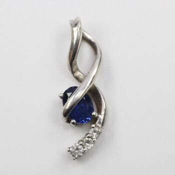Sterling Silver Pendant With Blue And Clear Stones