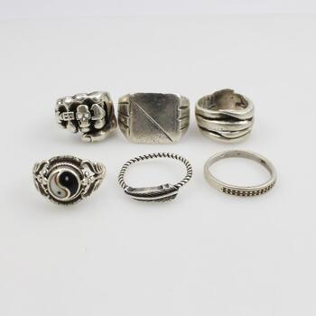 Sterling Silver Rings, 6 Pieces