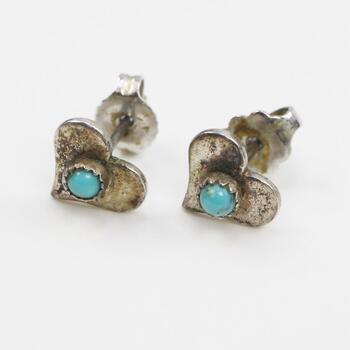 Sterling Silver Turquoise Stone Heart Stud Earrings