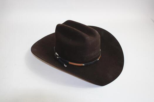 """Stetson """"El Patron"""" Mocha Brown Brim Hat Size 7/8"""