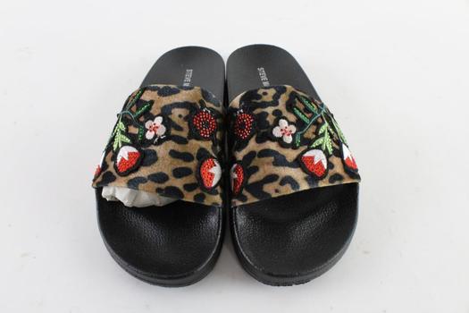 Steve Madden Patches Leopard Slide Sandal, Size 8