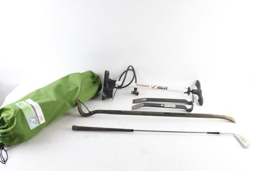 Stowaway Chair, Floor Pump, Golf Club And More, 6 Pieces