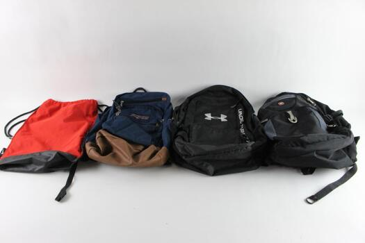 Swiss Gear And Other Backpacks And Drawstring Bag, 4 Pieces