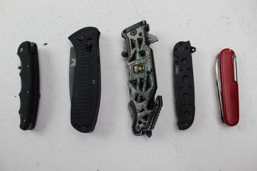 Swiss Gear Multi Tool, Folding Knives: CRKT Coast, Benchmade, US Army: 5 Pieces