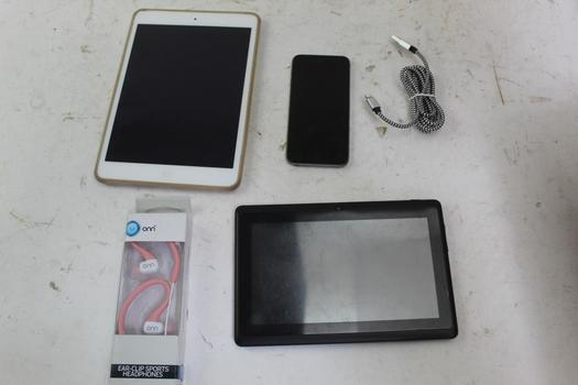 Tablets, Onn Headphones, & Apple Ipod Touch; 4 Pieces