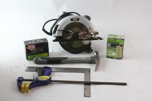 Task Force Circular Saw, Boxes Of Nails And More, 10 Pieces
