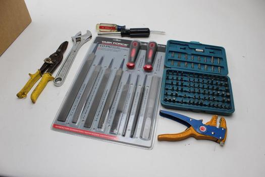 Task Force File Set, Performance Tool Screwbits, Crescent Wrench And More: 5+ Items
