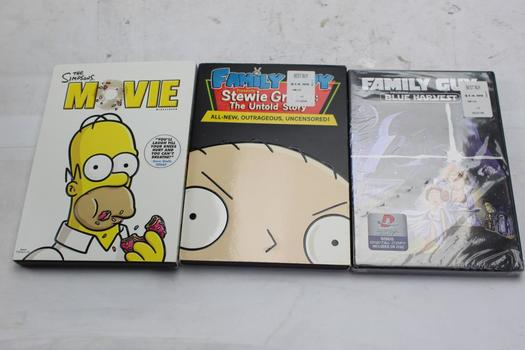 The Simpsons, Family Guy  Dvds Movies, 3 Pieces