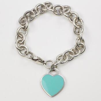 Tiffany & Co Sterling Silver Blue Heart Tag Bracelet