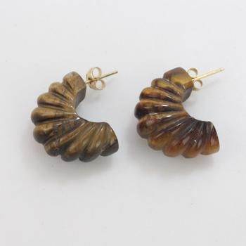 Tigers Eye Earrings With 14kt Gold Post 7.39g TW