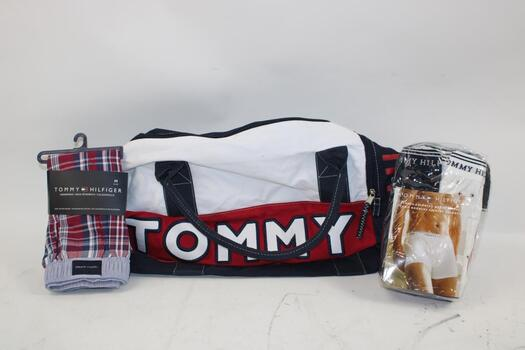 Tommy Hilfiger Duffel Bag One Size, Tommy Hilfiger Men's 3 Assorted Boxer Briefs Size L, And Tommy Hilfiger Men's Boxers Size M