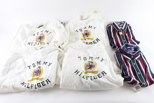 Tommy Hilfiger Sweatshirts And Button Down Shirts, Size Large & Extra Large, 6 Pieces