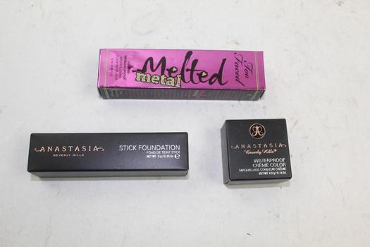 Too Faced,  Anastasia: Stick Foundation, Water Proof Creme Color, Metallic Lipstick