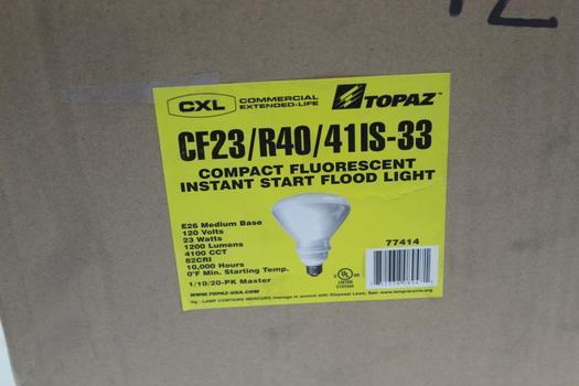 Topaz Compact Fluorescent Instant Start Flood Light, 20 Pieces