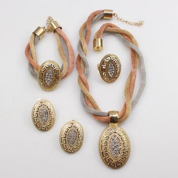 Tri-Color Fashion Jewelry Set, 4+ Pieces
