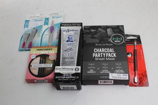 Trim Clippers, Tweezers, Dr Sheffields Toothpaste, Morgan Miller Sheet Mask+ More 7 Pieces