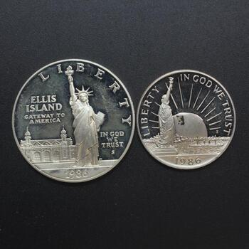 Two 1986 Ellis Island Coins, Includes 1 Silver