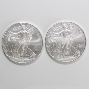 Two 2008 Silver American Eagle Coins