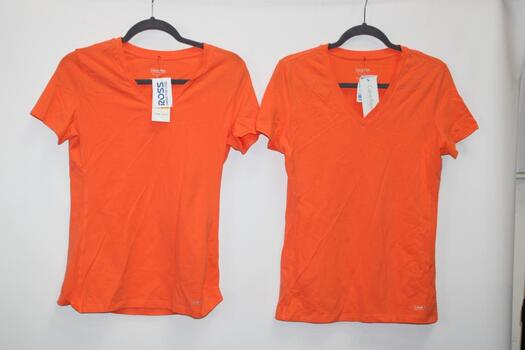 Two Calvin Klein Orange T-Shirts Sizes S And M