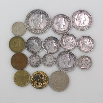 US and Foreign Coins, 15+ Pieces